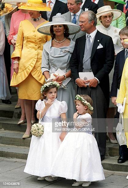 Wedding Of Princess Alexia Of Greece And Carlos Morales Quintana In London, United Kingdom On July 09, 1999 - Queen Sylvia and King Carl Gustav of...