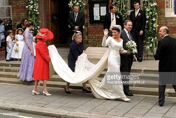 Wedding Of Princess Alexia Of Greece And Carlos Morales Quintana In London, United Kingdom On July 09, 1999 - Alexia arriving with father King...