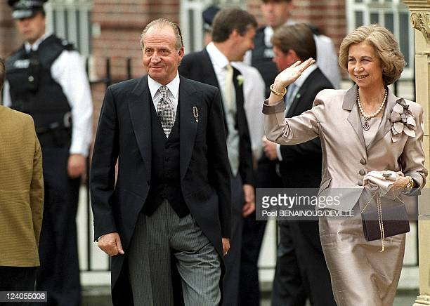 Wedding Of Princess Alexia Of Greece And Carlos Morales Quintana In London, United Kingdom On July 09, 1999 - King Sofia and Juan Carlos of Spain