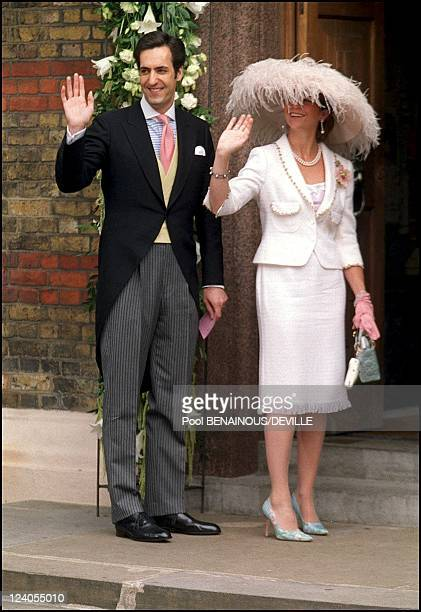 Wedding Of Princess Alexia Of Greece And Carlos Morales Quintana In London, United Kingdom On July 09, 1999 - Elena of Spain and husband.