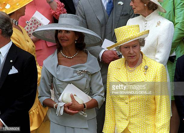 Wedding Of Princess Alexia Of Greece And Carlos Morales Quintana In London, United Kingdom On July 09, 1999 - Queen Sylvia and Queen Elisabeth.