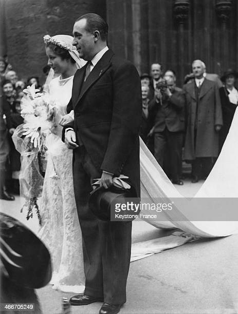 Wedding of Princess Alice of Bourbon Parma and of Spanish Infante Alfonso nephew of King of Spain Alfonso XIII on April 16 1936 in Vienna Austria