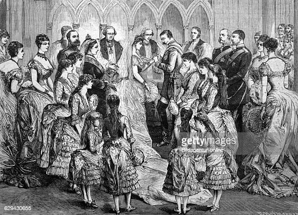 Wedding of princess beatrice of england with prince henry maurice von battenberg historical illustration circa 1886