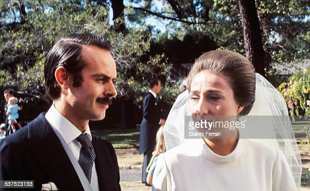 Wedding of Princess Margarita of Borbon sister of the Prince Juan Carlos of Borbon and Carlos Zurita 12nd October 1972 Estoril Portugal