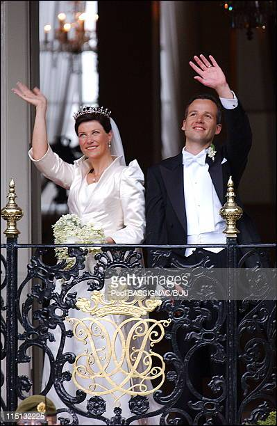 Wedding of Princess Martha Louise and Ari Behn in Trondheim Norway on May 24 2002 Princess Martha Louise and Ari Behn at the royal palace after the...