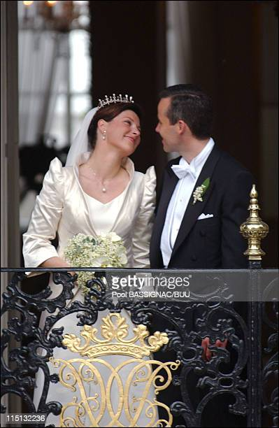 Wedding of Princess Martha Louise and Ari Behn in Trondheim, Norway on May 24, 2002 - Princess Martha Louise and Ari Behn at the royal palace after...