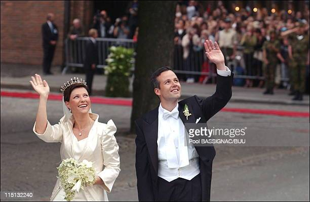 Wedding of Princess Martha Louise and Ari Behn in Trondheim, Norway on May 24, 2002 - Martha Louise and Ari Behn after the ceremony, return at the...