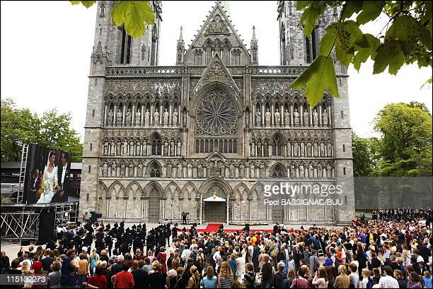 Wedding of Princess Martha Louise and Ari Behn in Trondheim Norway on May 24 2002 The wedding cathedrale at Trondheim