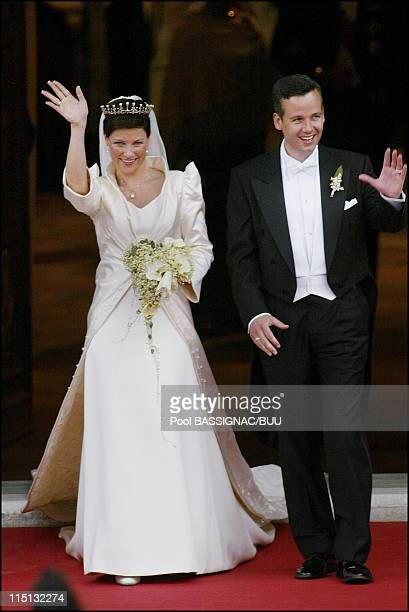 Wedding of Princess Martha Louise and Ari Behn in Trondheim Norway on May 24 2002 Martha Louise and Ari Behn after the ceremony leaves the cathedrale
