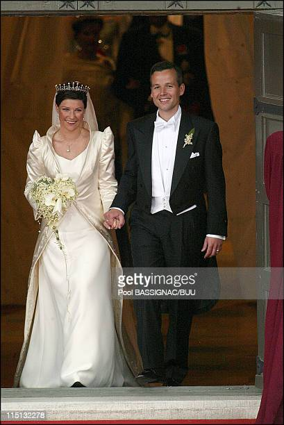 Wedding of Princess Martha Louise and Ari Behn in Trondheim, Norway on May 24, 2002 - Martha Louise and Ari Behn after the ceremony leaves the...