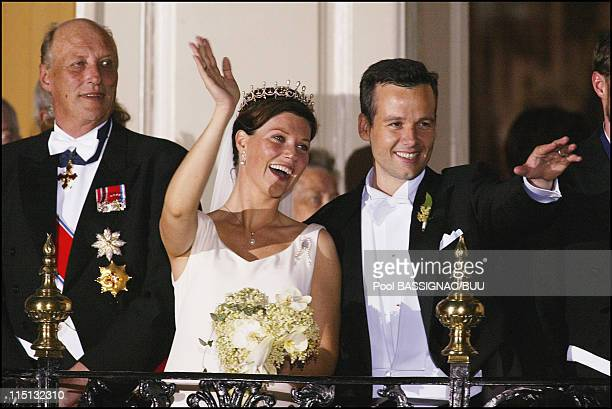 Wedding of Princess Martha Louise and Ari Behn in Trondheim, Norway on May 24, 2002 - Martha Louise and Ari Behn with their guest at the balcony for...