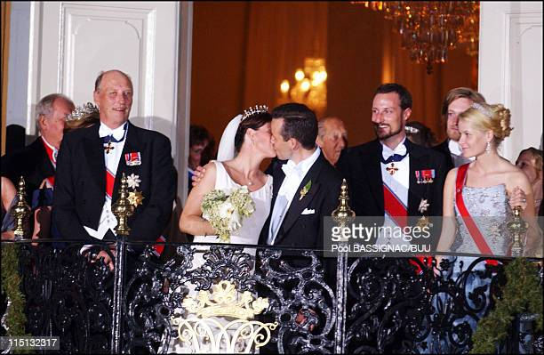 Wedding of Princess Martha Louise and Ari Behn in Trondheim Norway on May 24 2002 Martha Louise and Ari Behn with their guest at the balcony for...