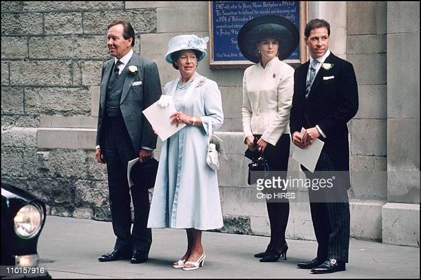 Wedding of Sarah Armstrong Jones and Daniel Chatto with princess Margaret and Lord Snowdon in United Kingdom on July 14 1994