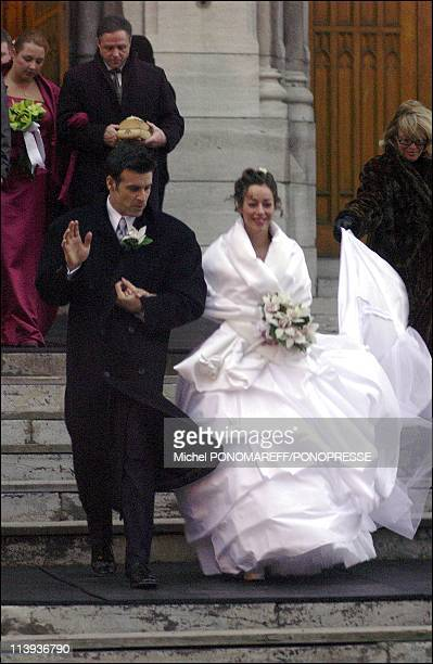 Wedding of singer Roch Voisine and Myriam St Jean at the St Viateur church In Montreal Canada On December 21 2002