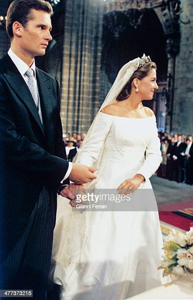 Wedding of the Infanta Cristina of Borbon and Inaqui Urdangarin in the Cathedral of Barcelona 4th October 1997 Barcelona Catalonia Spain