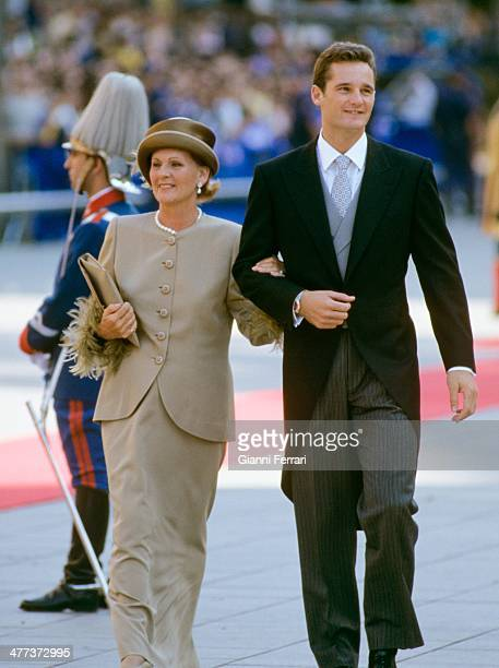 Wedding of the Infanta Cristina of Borbon the bridegroom Inaqui Urdangarin arrives at the Cathedral of Barcelona in the company of his mother Claire...