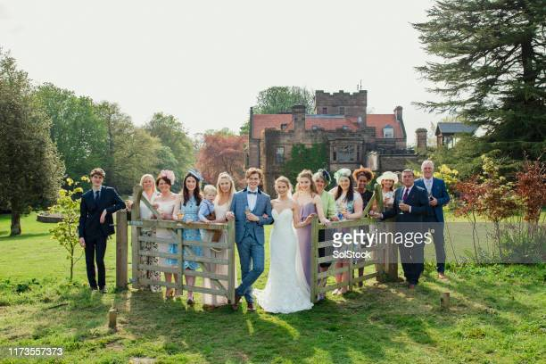 wedding party group photo - guest stock pictures, royalty-free photos & images