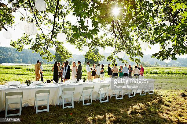 Wedding party having appetizers in field