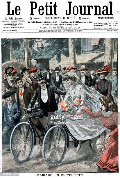 Wedding party on bicycles led by the bride and bridegroom Nice France 1909 The party rode to the civil ceremony and after it was performed remounted...