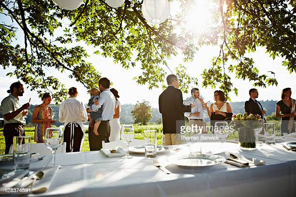 Wedding party standing eating appetizers in field