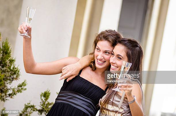 wedding party with champagne - wedding guest stock pictures, royalty-free photos & images