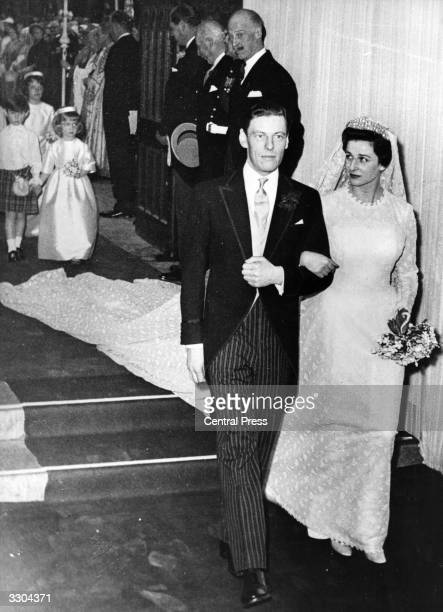 A wedding photograph of Princess Alexandra daughter of George Duke of Kent to Hon Angus James Bruce Ogilvy at Westminster Abbey in London April 24...