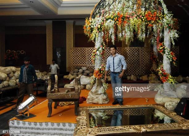 Wedding planner Amrish Pershad photographed while organizing a wedding set at Taj palace in New Delhi
