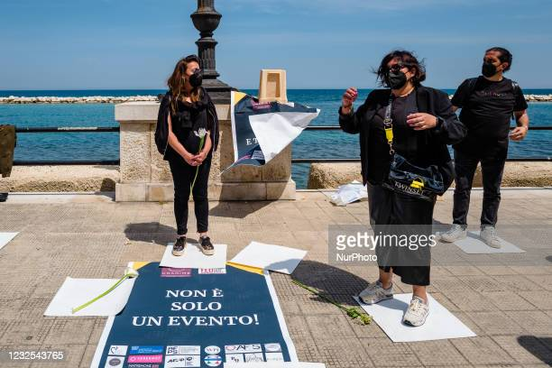 Wedding Planners protest on the Lungomare in front of the Puglia Region on the first day in the orange zone for lack of support from the wedding...