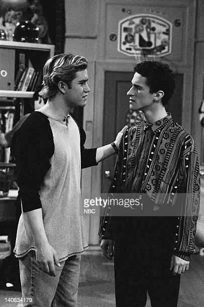 YEARS 'Wedding Plans' Episode 19 Air Date Pictured MarkPaul Gosselaar as Zack Morris Dustin Diamond as Screech Powers Photo by Frank Carroll/NBCU...