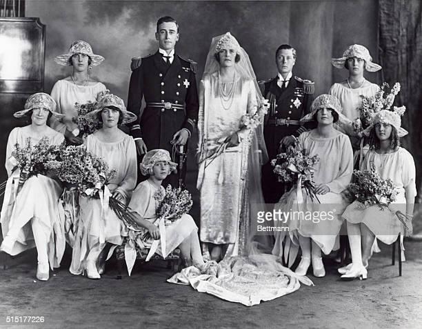 Wedding portrait of Louis Mountbatten the first Earl Mountbatten of Burma Also in the photo is Edward VIII his best man Undated photograph