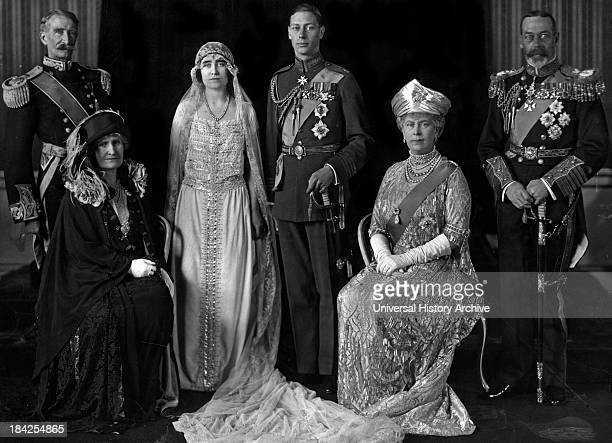 Wedding portrait of the Duke and Duchess of York with their parents the Earl and Countess of Strathmore as well as Queen Mary and King George V of...