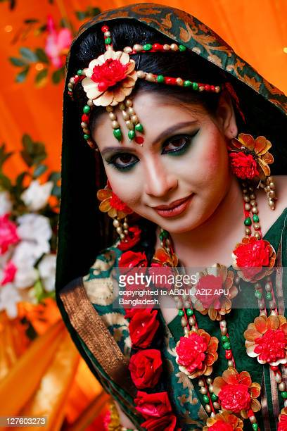 wedding portrait - bangladeshi bride stock photos and pictures