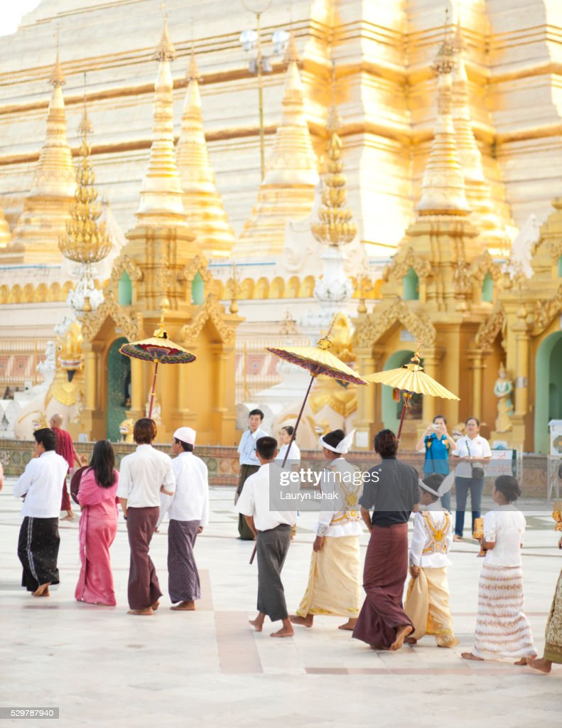 A wedding procession at Shwedagon Pagoda, Yangon, Myanmar : Stock Photo