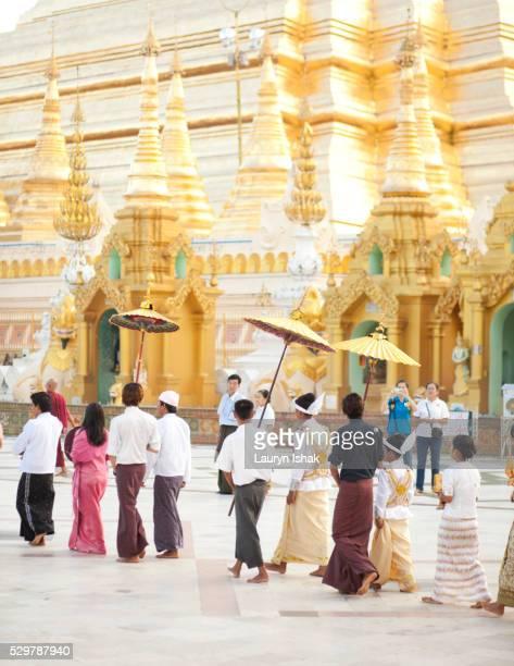 A wedding procession at Shwedagon Pagoda, Yangon, Myanmar
