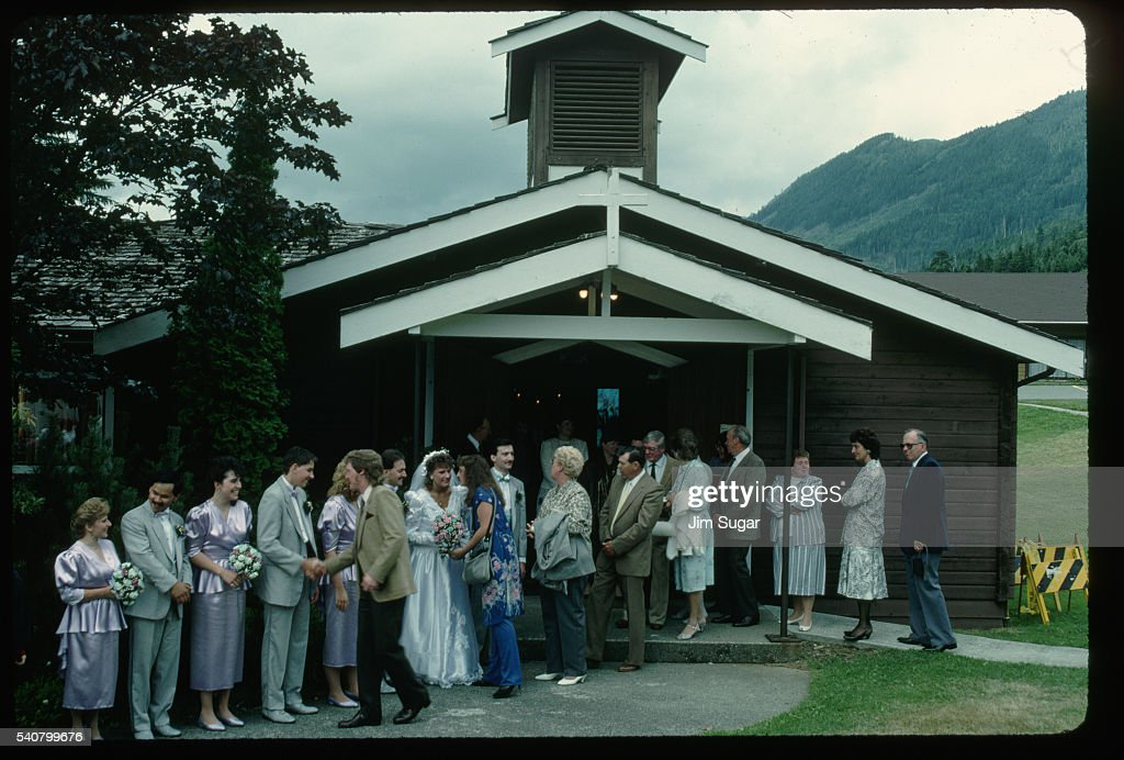 Wedding Receiving Line in Front of Church : Stock Photo