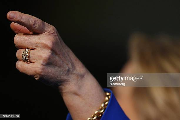 A wedding ring belonging to Hillary Clinton former Secretary of State and 2016 Democratic presidential candidate is seen during a campaign event in...