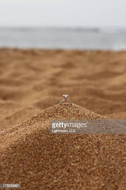 Wedding Ring in Sand Beach
