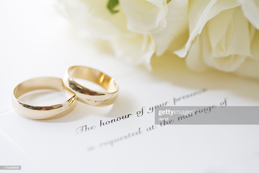 Wedding Rings And Invite Stock Photo Getty Images