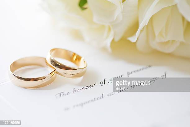wedding rings and invite - wedding ring stock pictures, royalty-free photos & images