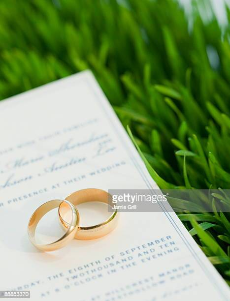 wedding rings and marriage certificate on grass - wedding invitation stock pictures, royalty-free photos & images