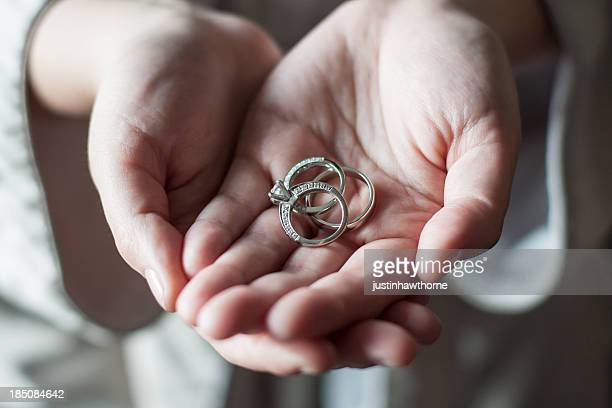wedding rings and the engagement ring - white gold stock pictures, royalty-free photos & images