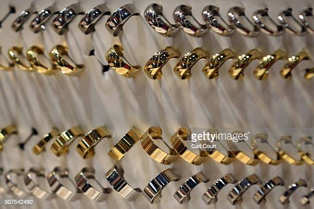 Wedding rings are displayed at the London Wedding Show at ExCel on January 30 2016 in London England The show advertises numerous businesses involved...
