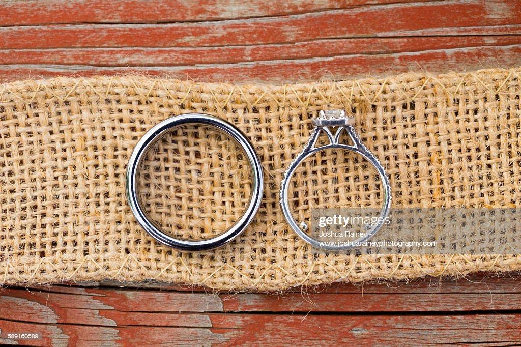 Wedding rings on Burlap : Stock Photo