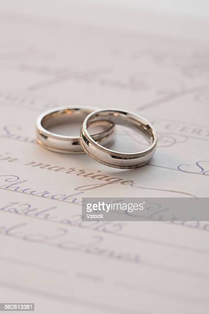 Wedding rings on marriage license