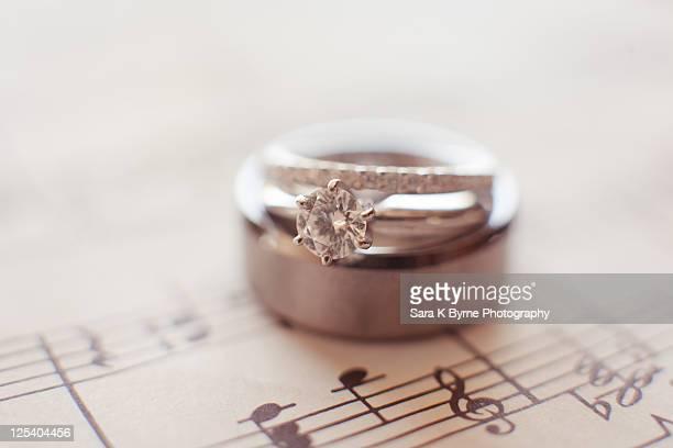 Wedding rings on music sheet