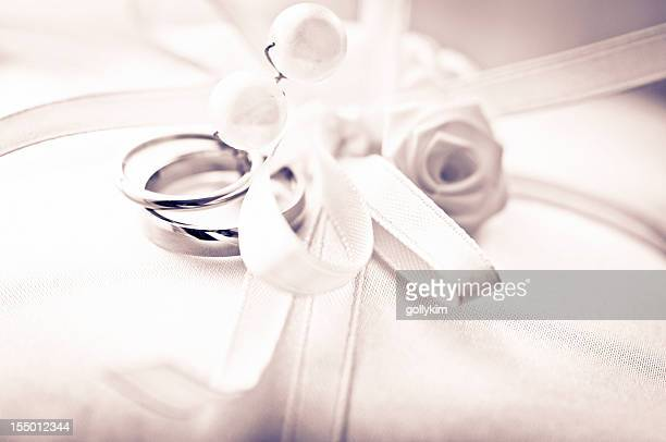 Wedding Rings on pillow, Shallow depth of field