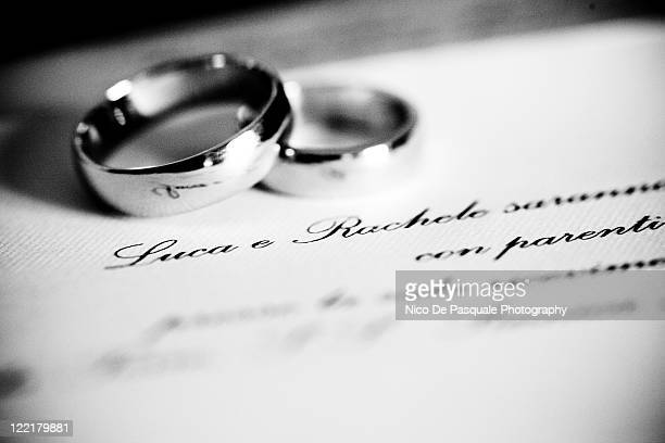 Wedding rings on wedding card