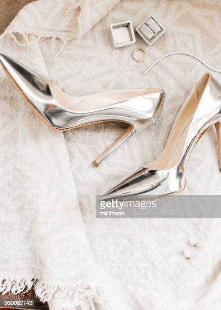 Wedding rings, shoes and bracelet