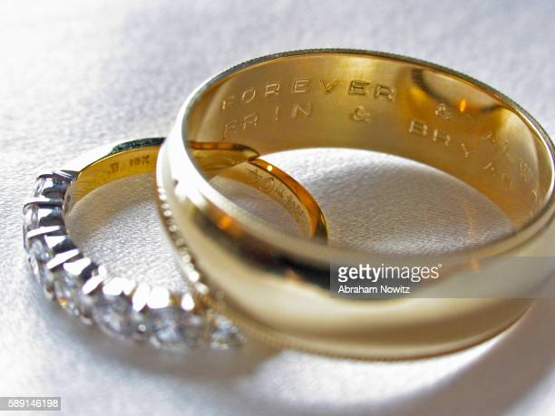 wedding rings with engraving - engraving stock pictures, royalty-free photos & images