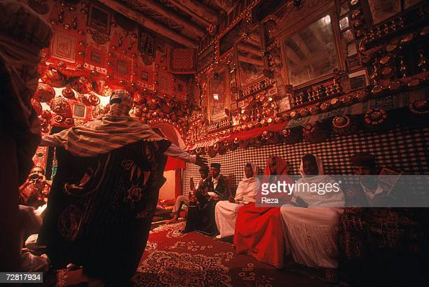 A wedding scene in a traditional typical home is performed like in ancient times for tourists April 2000 in Ghadames Libya